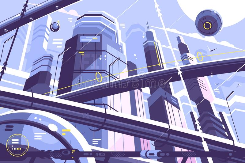 Stadtmetropole von Zukunft stock abbildung