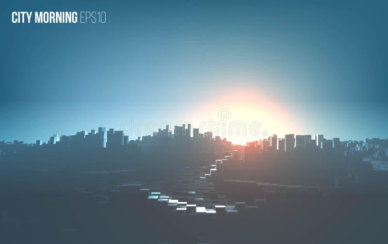 Stadtmorgenlandschaft Stadtbildvektorhintergrund Städtische Morgenillustration stock abbildung