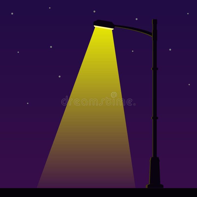 Stadtnachtstraßenlaterne mit Licht von der Straßenbeleuchtungslampe Laternenpfahl im Freien in der flachen Art Scheinwerfer-Vekto stock abbildung