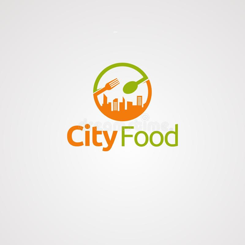 Stadtnahrungsmittellogovektor, -ikone, -element und -schablone für Firma stock abbildung