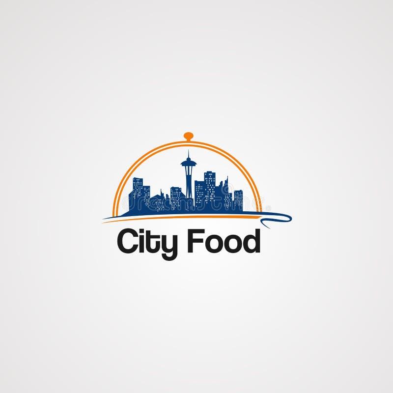 Stadtnahrungsmittellogovektor, -ikone, -element und -schablone für Ihre Firma vektor abbildung