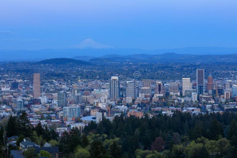 Stadtpanorama Portlands Oregon von Pittock-Villa stockbild