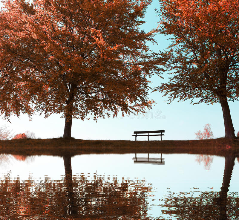 Stadtpark im Herbst lizenzfreies stockbild
