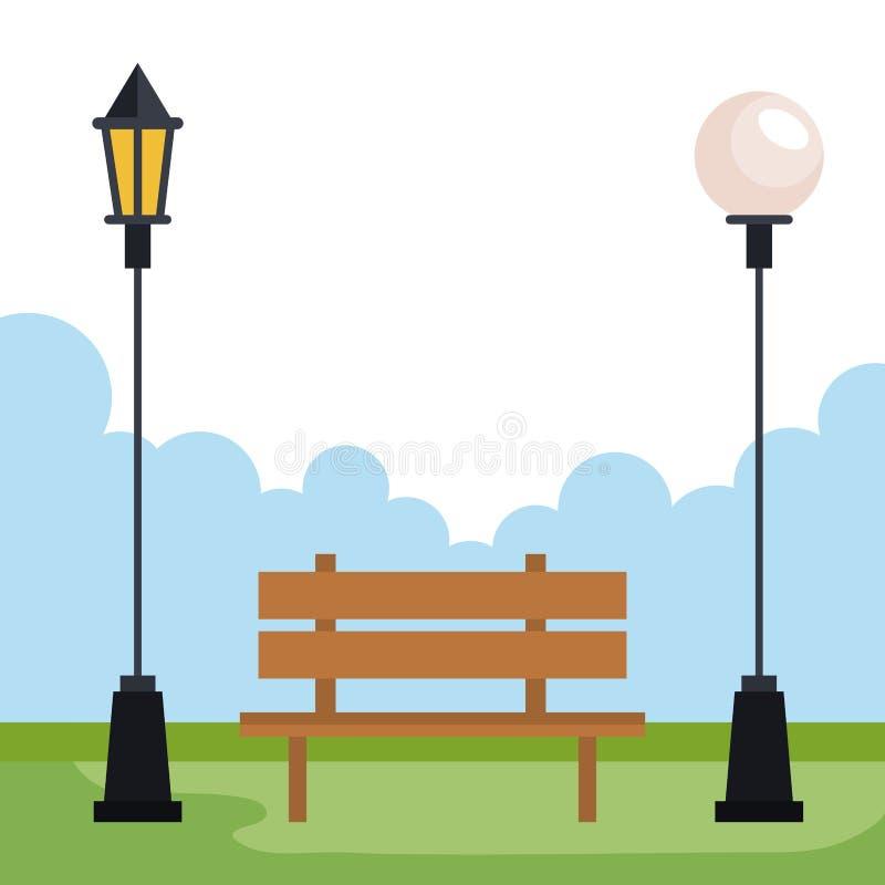 Stadtpark mit Lampen und Stuhlerholung stock abbildung