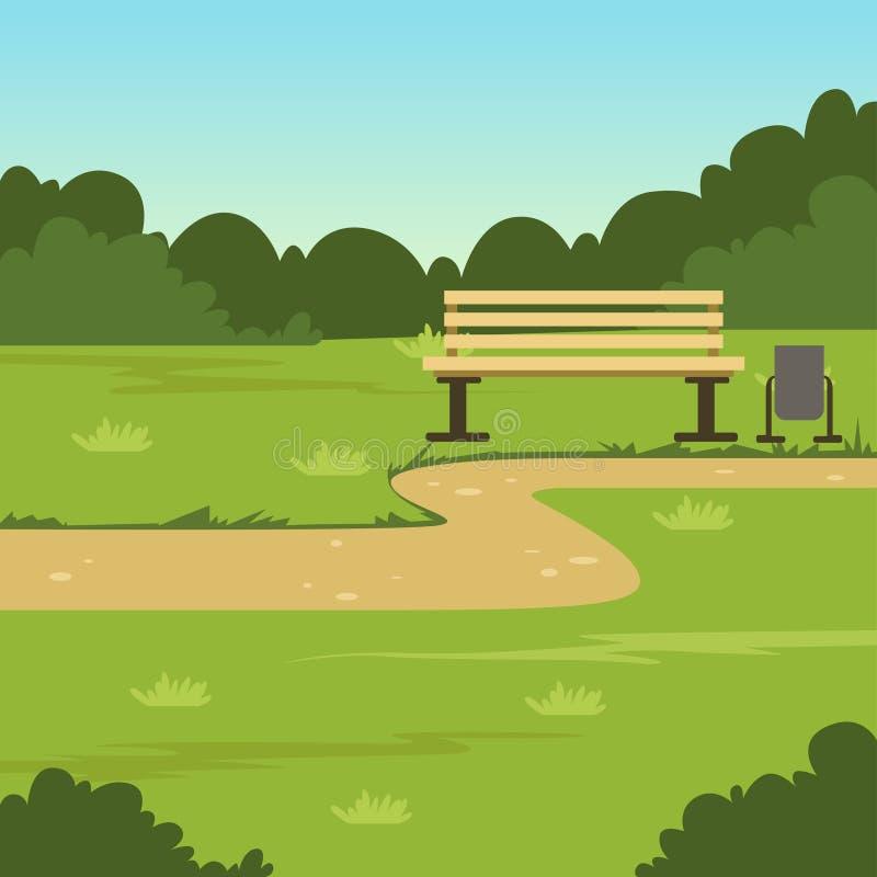Stadtparkbank, grüne Sommerlandschaft, Naturhintergrund-Vektorillustration lizenzfreie abbildung