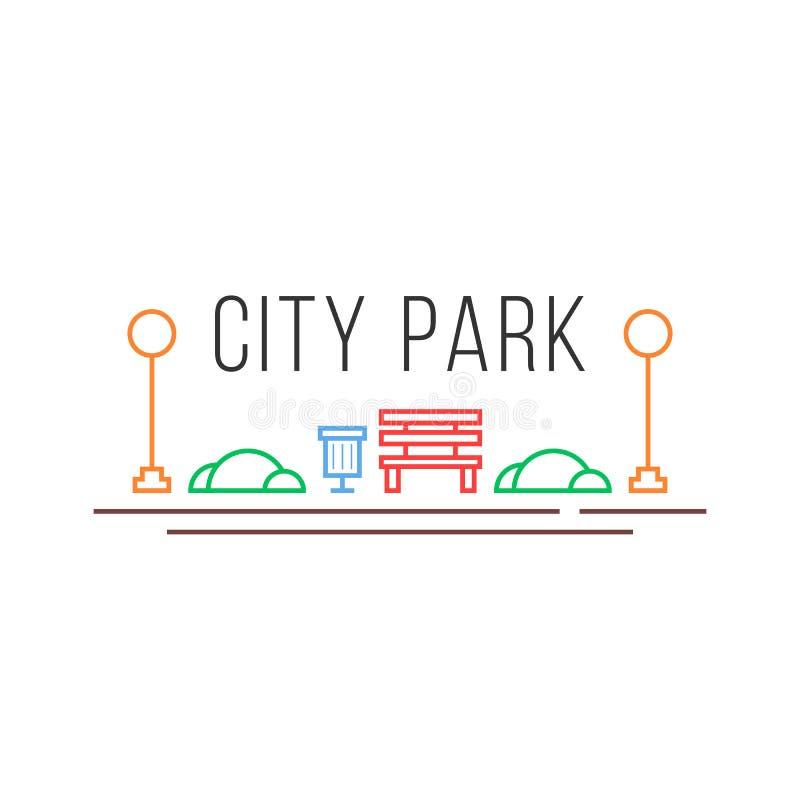 Stadtparkikone in der linearen Art vektor abbildung