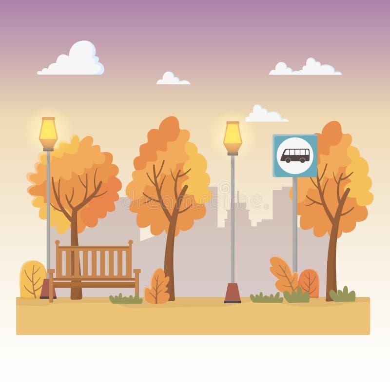 Stadtparkszene mit Laternen und Bushaltestelle stock abbildung