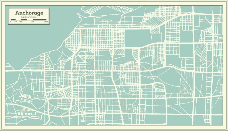 Stadtplan Anchorage-Alaskas USA im Retrostil Antilocapra Americana vektor abbildung