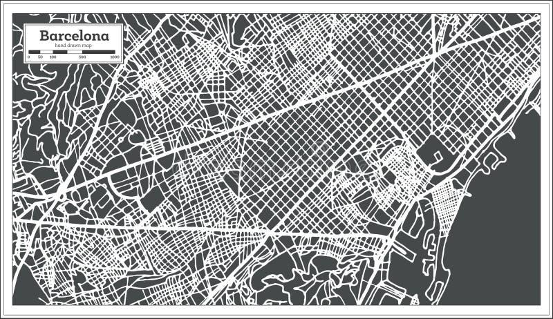Stadtplan Barcelonas Spanien im Retrostil Antilocapra Americana vektor abbildung