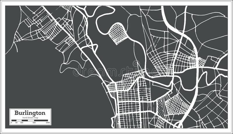 Stadtplan Burlingtons Vermont USA im Retrostil Antilocapra Americana vektor abbildung