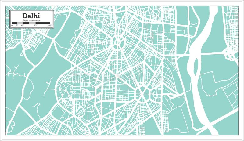 Stadtplan Delhis Indien im Retrostil Antilocapra Americana lizenzfreie abbildung
