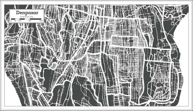 Stadtplan Denpasars Indonesien im Retrostil Antilocapra Americana lizenzfreie abbildung