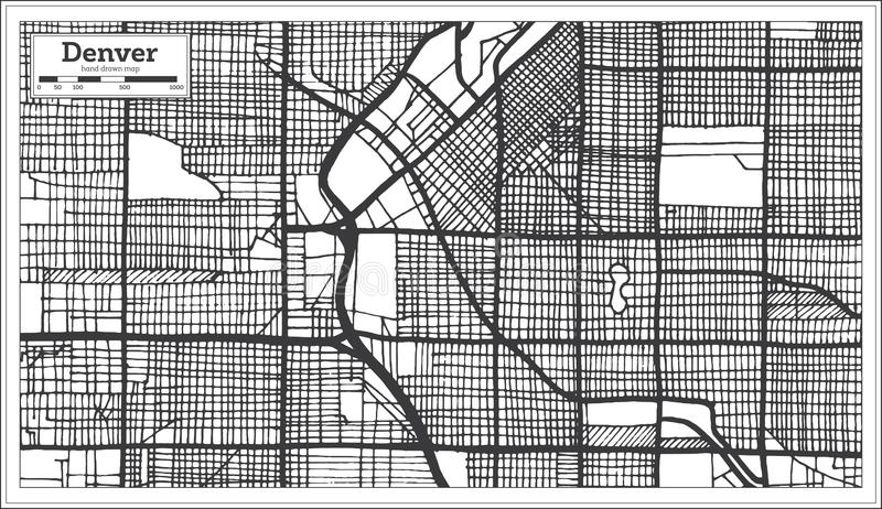 Stadtplan Denvers USA im Retrostil Antilocapra Americana lizenzfreie abbildung