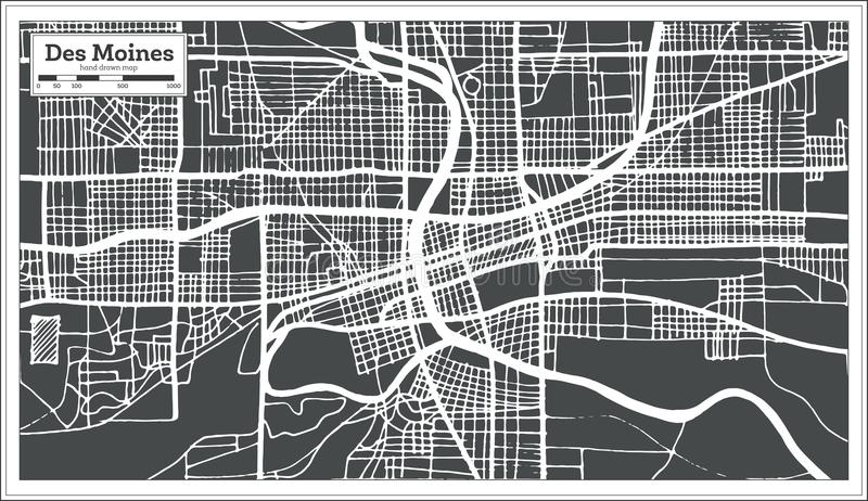 Stadtplan Des Moines USA im Retrostil Antilocapra Americana lizenzfreie abbildung