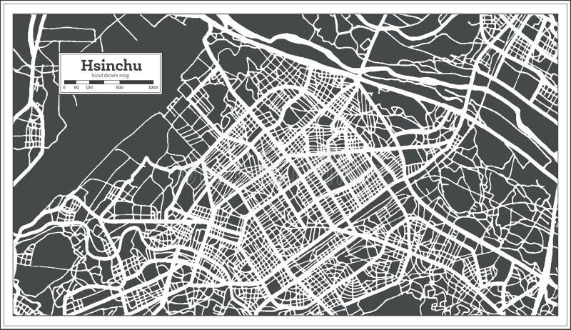 Stadtplan Hsinchus Taiwan im Retrostil Antilocapra Americana stock abbildung
