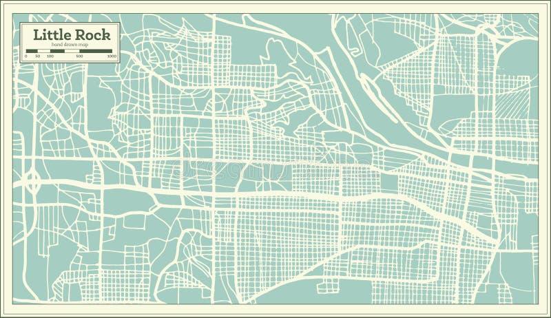 Stadtplan Little Rocks USA im Retrostil Antilocapra Americana vektor abbildung