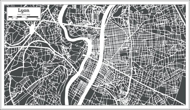 Stadtplan Lyons Frankreich im Retrostil Antilocapra Americana lizenzfreie abbildung