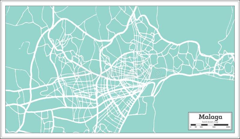 Stadtplan Màlagas Spanien im Retrostil Antilocapra Americana vektor abbildung