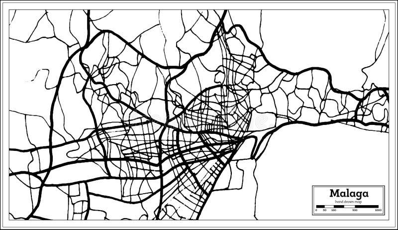 Stadtplan Màlagas Spanien im Retrostil Antilocapra Americana stock abbildung