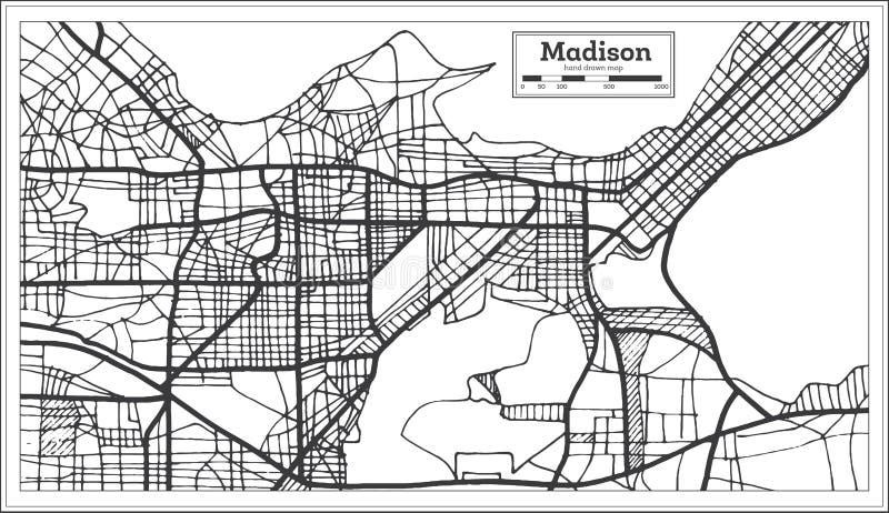 Stadtplan Madisons USA im Retrostil Antilocapra Americana lizenzfreie abbildung