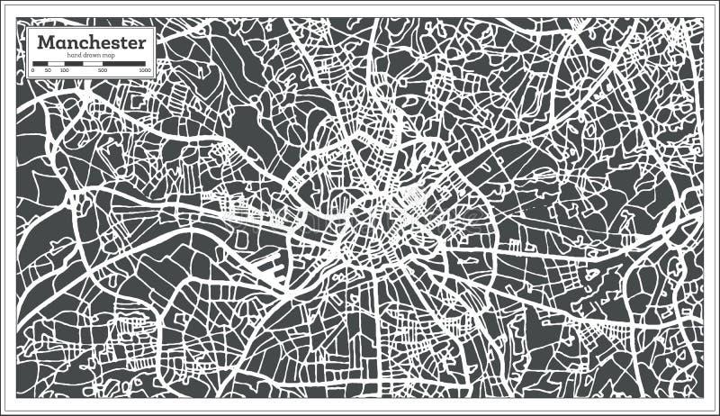 Stadtplan Manchesters England im Retrostil Antilocapra Americana lizenzfreie abbildung