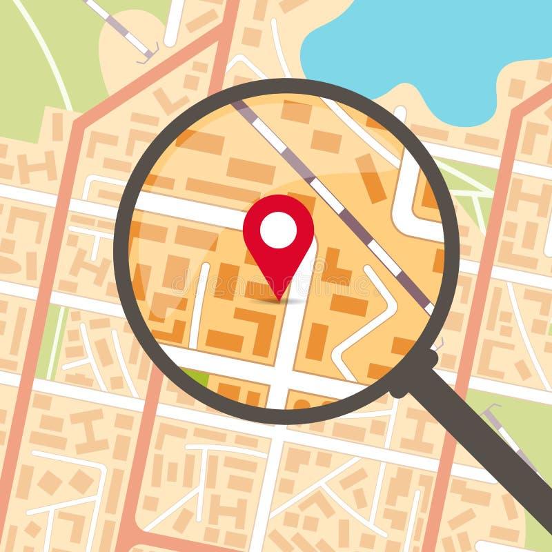Stadtplan mit Vergrößerungsglas und Genauigkeit vektor abbildung