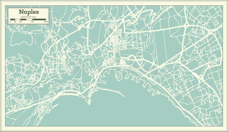 Stadtplan Neapels Italien im Retrostil Antilocapra Americana vektor abbildung