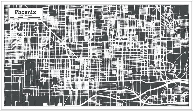 Stadtplan Phoenix USA im Retrostil Antilocapra Americana vektor abbildung