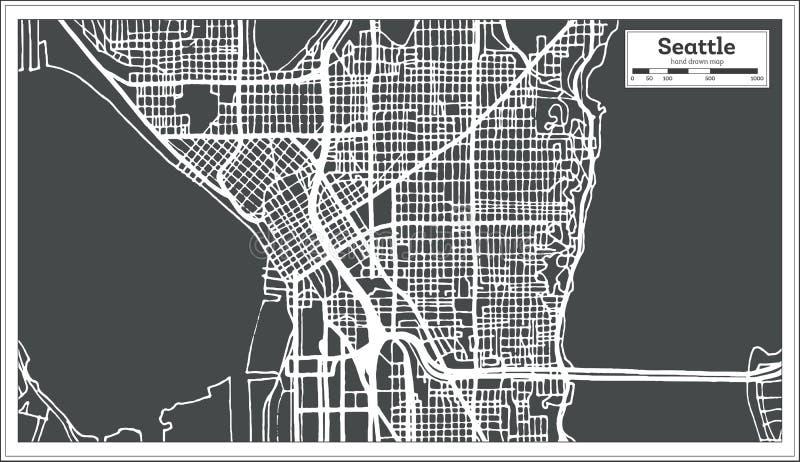 Stadtplan Seattles USA im Retrostil Antilocapra Americana lizenzfreie abbildung