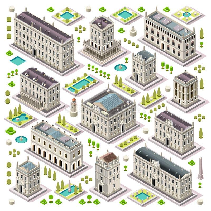 Stadtplan stellte 06 Fliesen isometrisch ein lizenzfreie abbildung