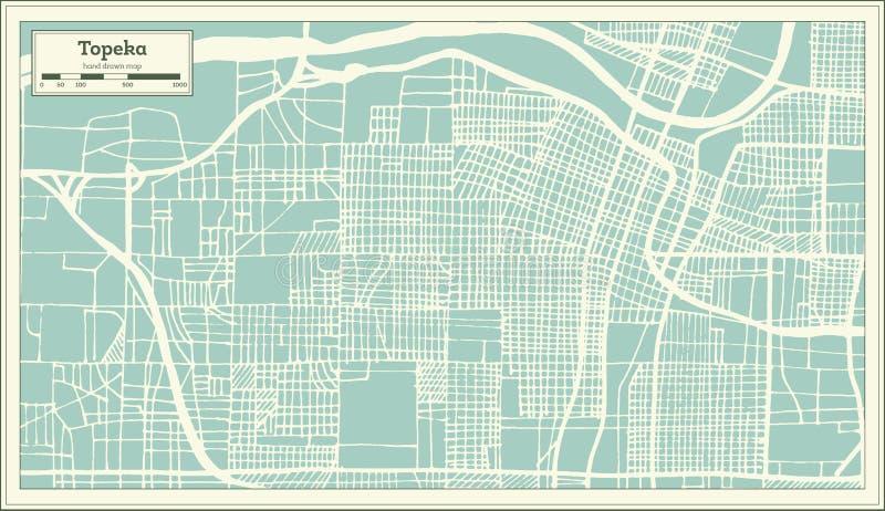 Stadtplan Topeka Kansas USA im Retrostil Antilocapra Americana vektor abbildung
