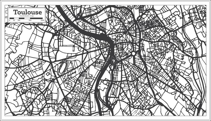 Stadtplan Toulouse Frankreich im Retrostil Antilocapra Americana stock abbildung