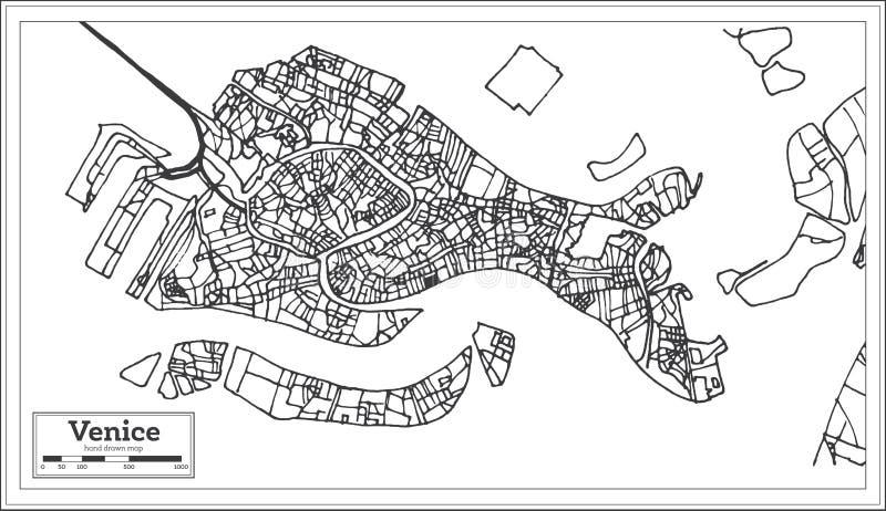 Stadtplan Venedigs Italien im Retrostil Antilocapra Americana vektor abbildung