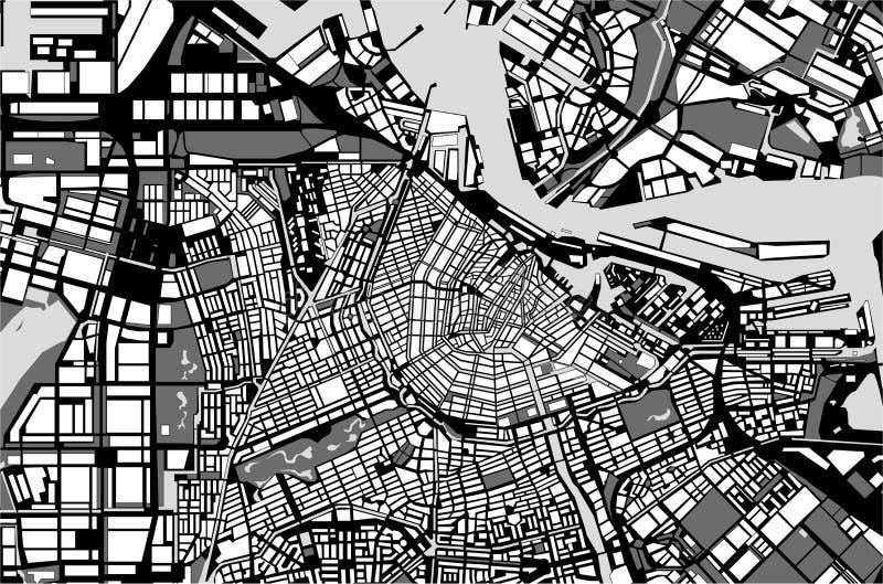 Stadtplan von Amsterdam, die Niederlande lizenzfreie abbildung