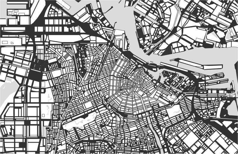 Stadtplan von Amsterdam, die Niederlande vektor abbildung