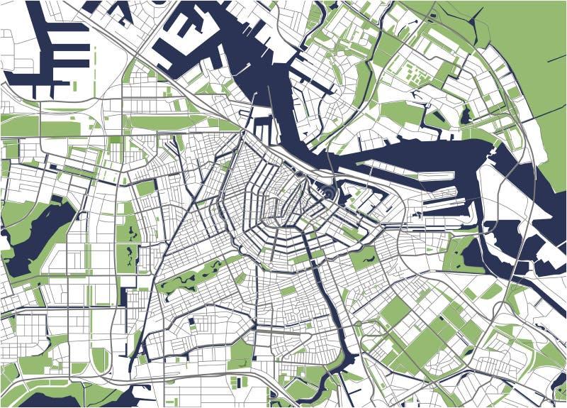 Stadtplan von Amsterdam, die Niederlande stock abbildung