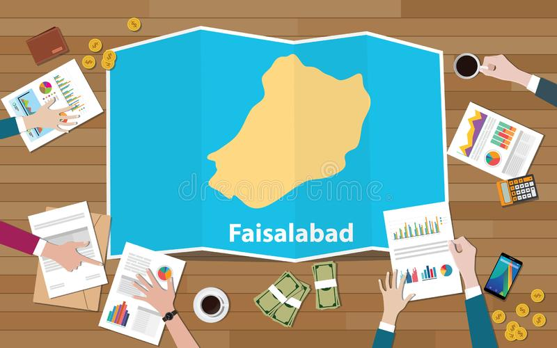 Stadtregions-Wirtschaftswachstum Faisalabads Punjab Pakistan mit Team auf Faltenkartenansicht von der Spitze sich besprechen vektor abbildung