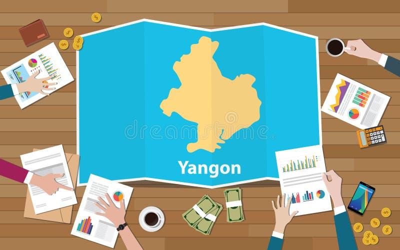 Stadtregions-Wirtschaftswachstum Ranguns Rangun Myanmar mit Team auf Faltenkartenansicht von der Spitze sich besprechen lizenzfreie abbildung