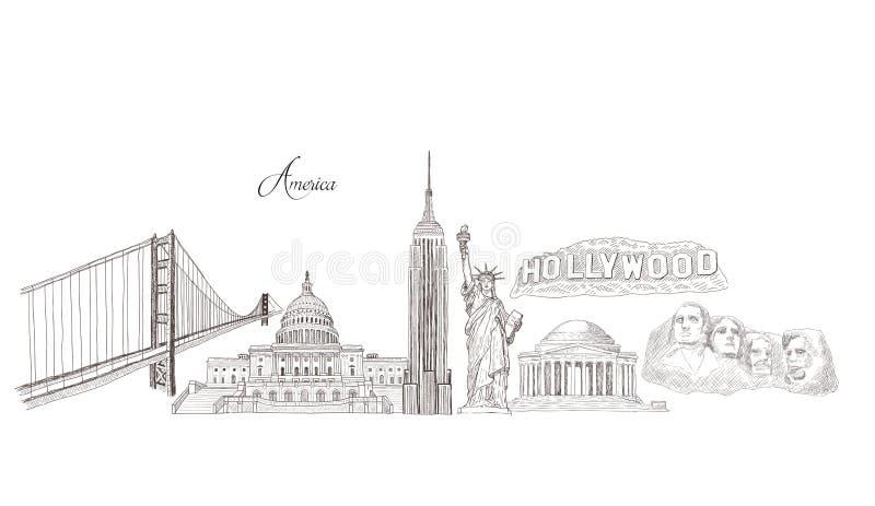 Stadtreisemarksteine, Touristenattraktion in den verschiedenen Orten von den Vereinigten Staaten von Amerika vektor abbildung