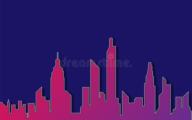 Stadtschattenbildhintergrund, Illustration stock abbildung