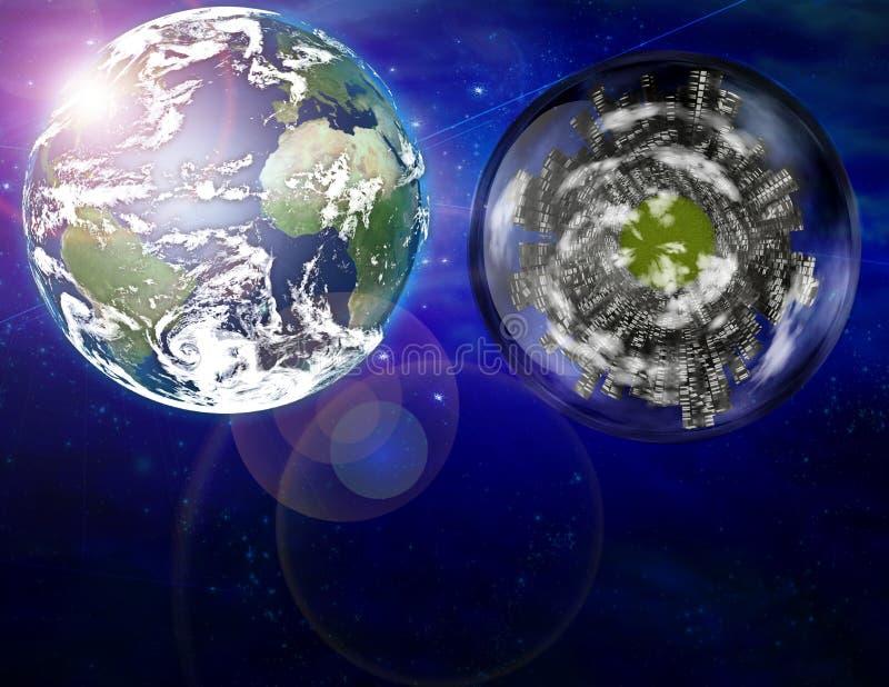 Stadtschiff und Planet Erde vektor abbildung