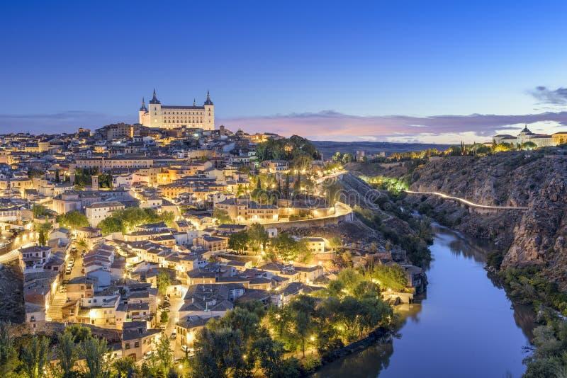Stadtskyline Toledos, Spanien stockfotos