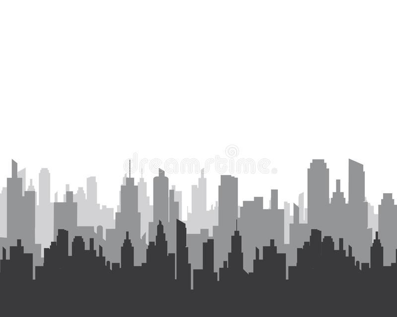 Stadtskyline-Vektorschattenbild stock abbildung