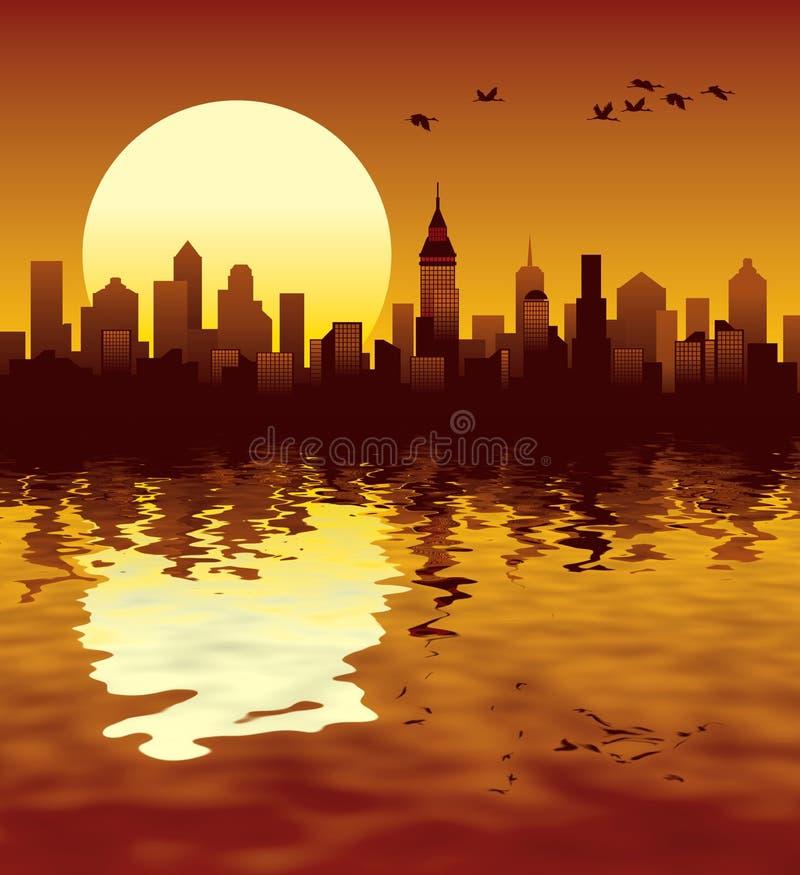 Stadtsonnenuntergang lizenzfreie abbildung