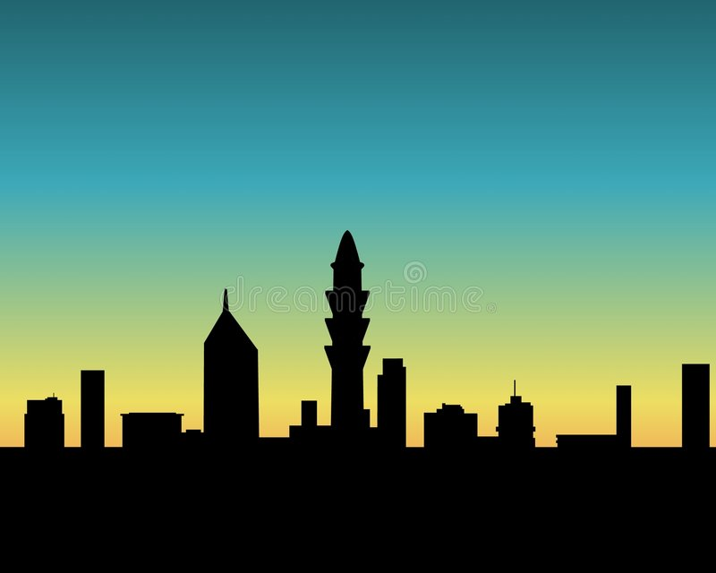 Stadtsonnenuntergang vektor abbildung
