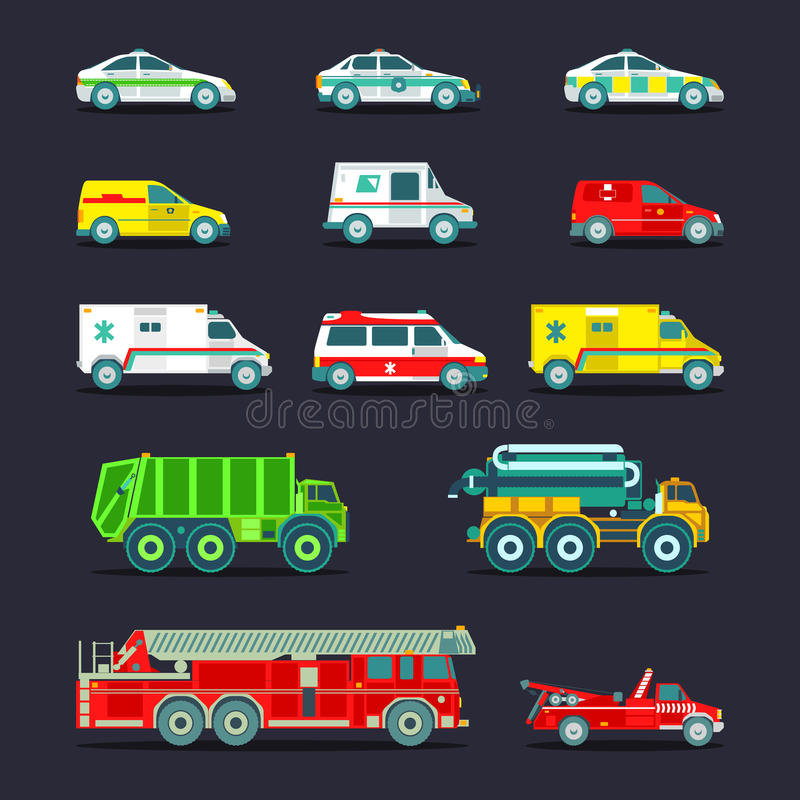 Stadtstädtischer Special, Bereitschaftsdienstautos und LKW-Ikonensammlung Vektorstadttransport eingestellt in flache Art vektor abbildung