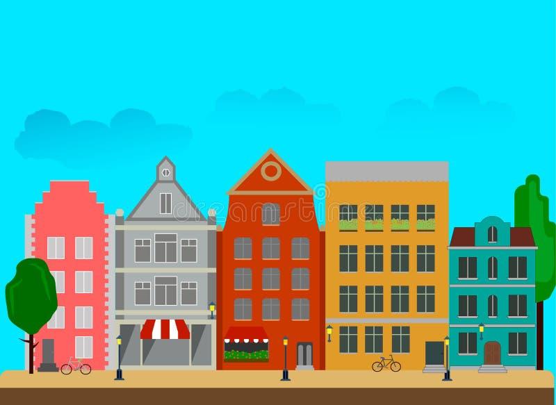 Stadtstraße mit den hohen Gebäuden gemacht in einer flachen Art vektor abbildung