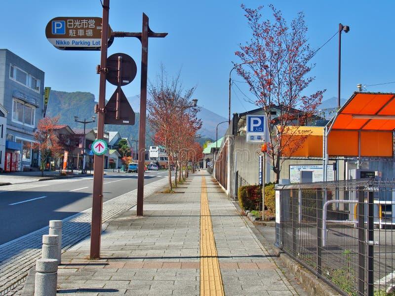 Stadtstraße in Nikko stockfoto