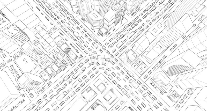 Stadtstraße Schnitt-Staustraße 3d Schwarze Linien umreißen Detail-Projektionsansicht der Konturnart sehr hohe Viel lizenzfreie abbildung