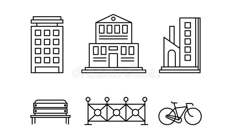 Stadtstraßen-Elementsatz, städtische Infrastrukturgegenstände, Stadtgebäude, Zaun, Bank, lineare Illustration Vektor des Fahrrade lizenzfreie abbildung